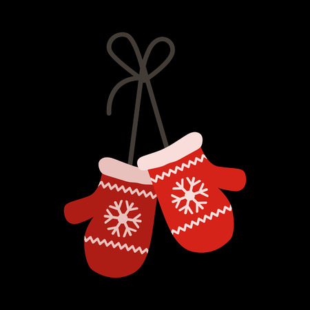 personal ornaments: mittens flat icon Illustration