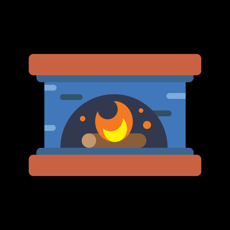 cast iron: fireplace flat icon Illustration