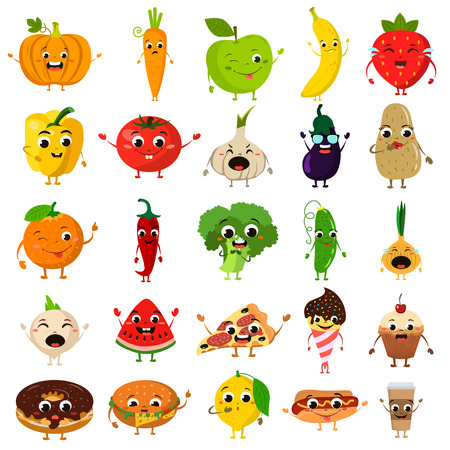 apples and oranges: animated food flat icon set