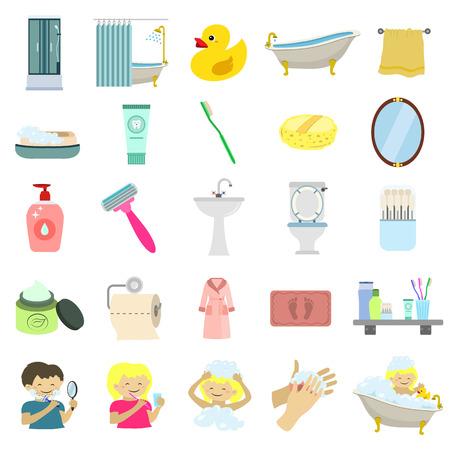 amenities: bathroom amenities flat icon set