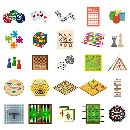 board games flat icon set Banco de Imagens - 69998442