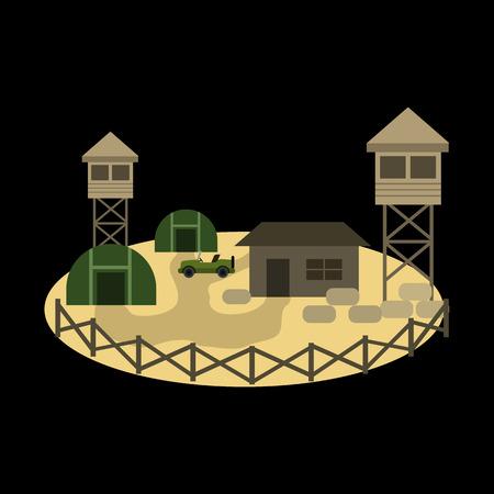 military base flat icon Illustration