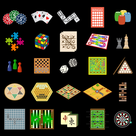 snakes and ladders: board games flat icon set