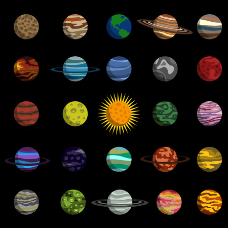 planet of the solar system flat icon set