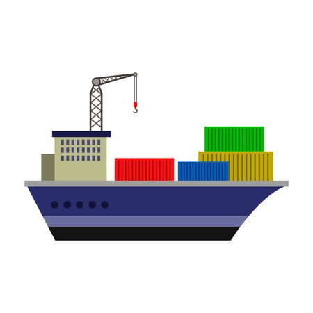 Cargo ship flat icon Illustration