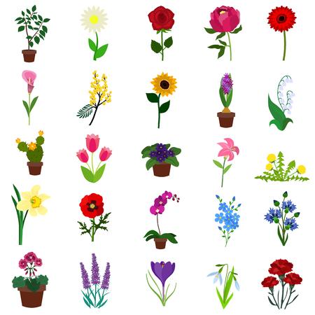 Flowers flat icon set