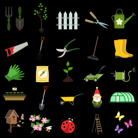 gardening flat icon set Illustration