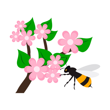 Pollination of a flower flat icon.