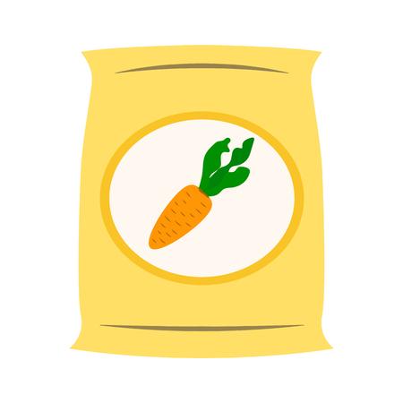 Bag with fertilizer flat icon. Illustration