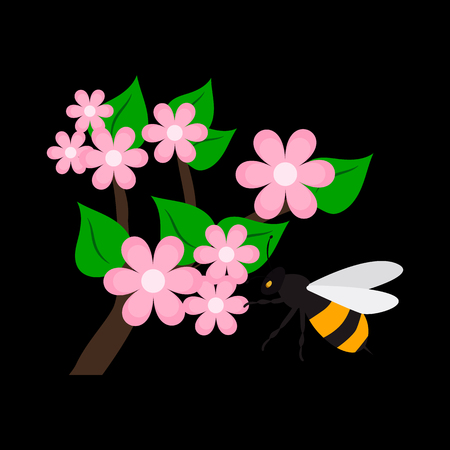Pollination of a flower flat icon Illustration