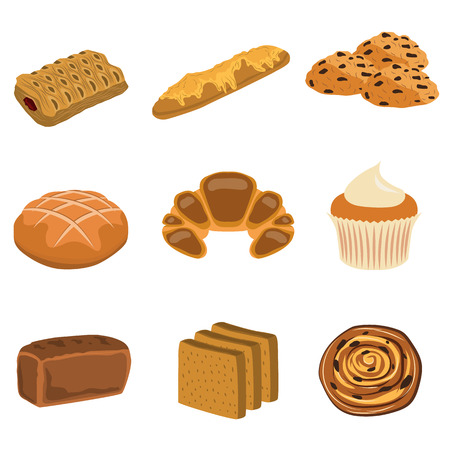 A bakery products flat icon set