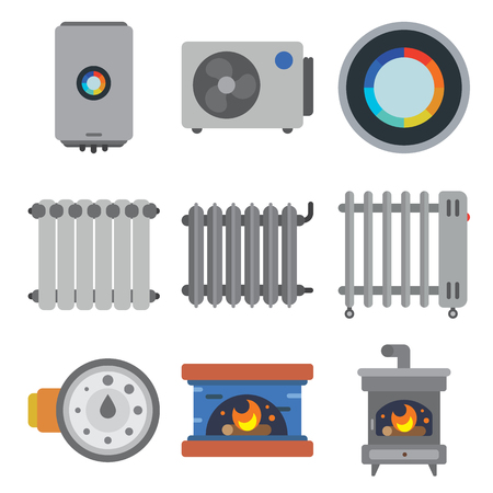 gas fireplace: A heating systems flat icons set Illustration