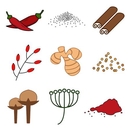 A spice flat icons set