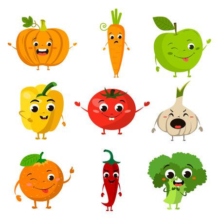 geanimeerde voedsel platte pictogramserie Stock Illustratie