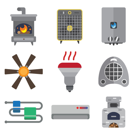 stove pipe: heating systems flat icons set