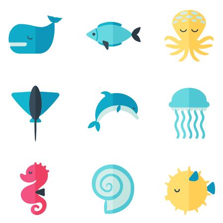 plancton: criaturas marinas fijar el icono