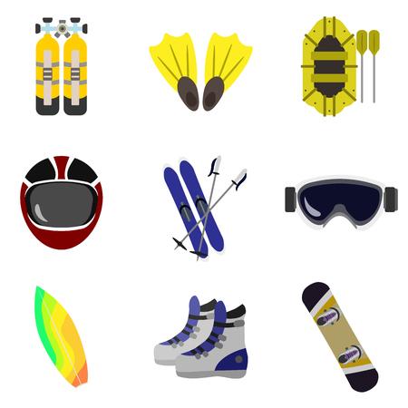 extreme sports flat icon set