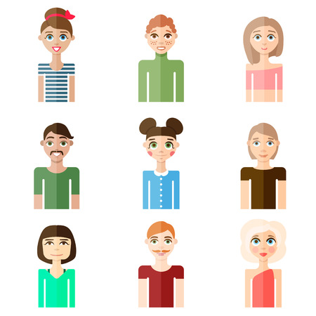 people flat icon set Illustration