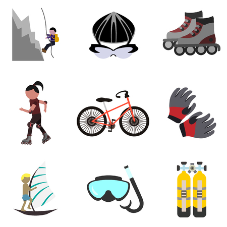extreme sports flat icon set Stock Vector - 79429306
