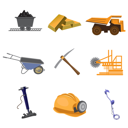 earth mover: Mines flat icon set