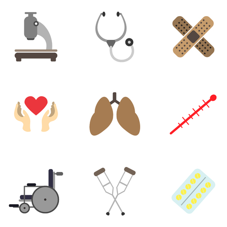 medicine flat icon set