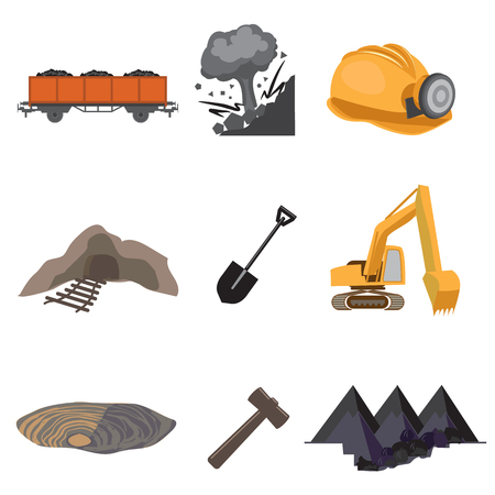 Mines flat icon set