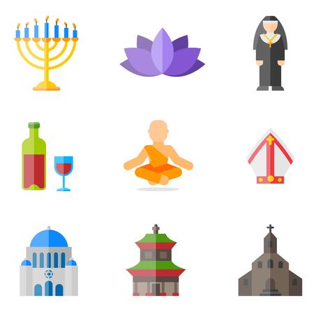 religion flat icons set Vektorové ilustrace