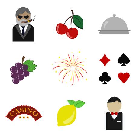 lucky clover: ?asino flat icon set Illustration
