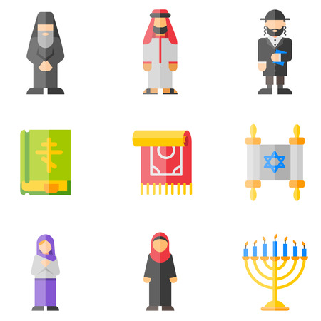 religion flat icons set Illustration