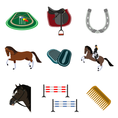 equestrian sport flat icons set