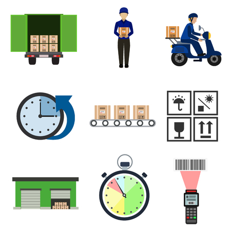 isolate: warehouse and delivery flat icon set