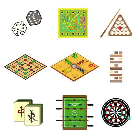 board games flat icon set