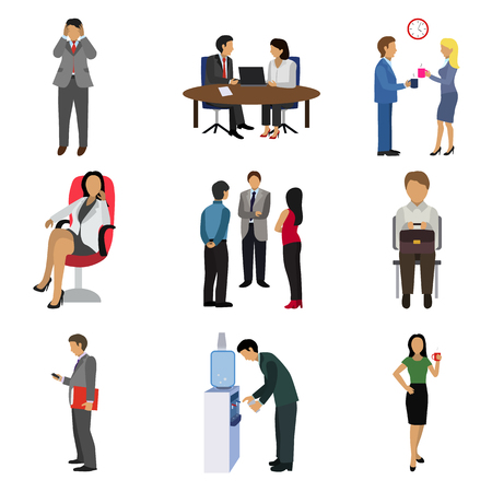 office people flat icon set