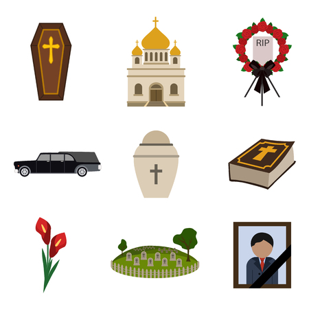 funeral flat icon set