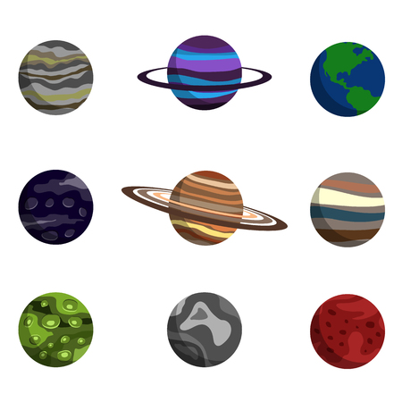 exploring: planet of the solar system flat icon set