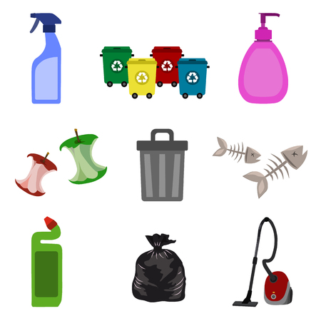 cleaning and garbage flat icon set