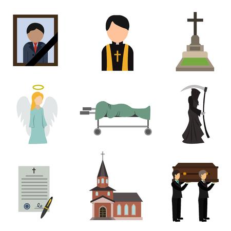 Funeral flat icon set Illustration