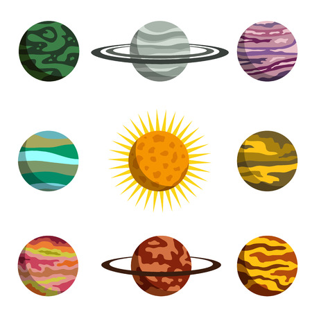 Planets of the solar system flat icon set