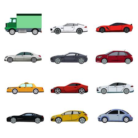 Super car flat set icon Illustration