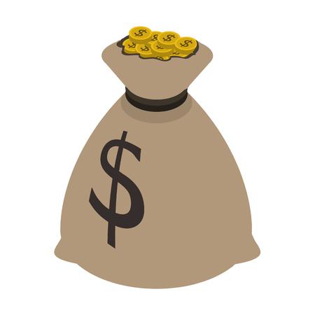money bag isometric icon Illustration