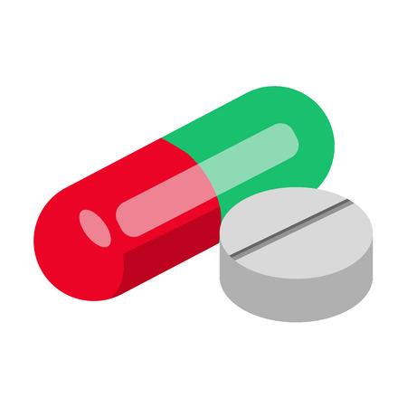 Icône isométrique de pilule.