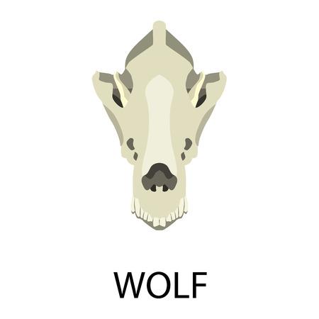 Skulls of animals flat icon set Illustration