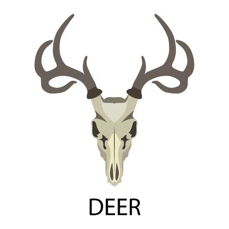 remains: Skulls of animals flat icon set Illustration