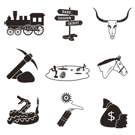 a snake in a bag: Wild West flat set icon Illustration