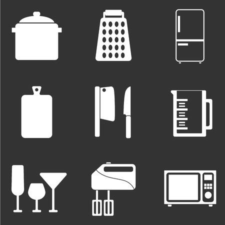 keukengerei platte pictogrammenset Stock Illustratie