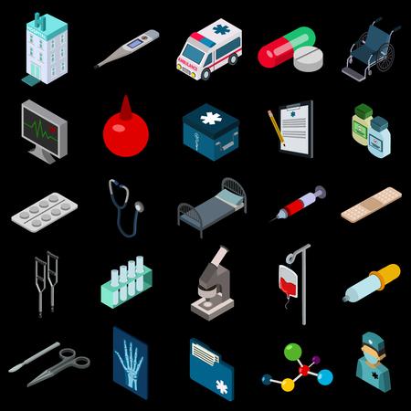 checklist: Medicine icon isometric set Illustration