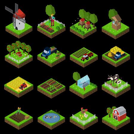 boerderij vlak pictogram set