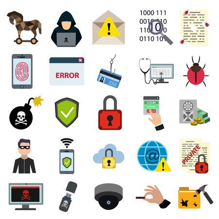 Cyber security flat icon set. Vector illustration.