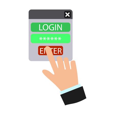 menace: Cyber security flat icon Illustration
