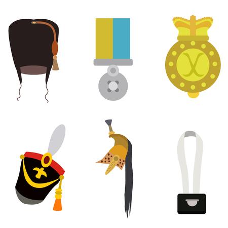 soldier equipment flat icon set